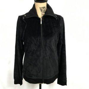 Chadwick's Velour Black Full Zip Jacket Athlesuire